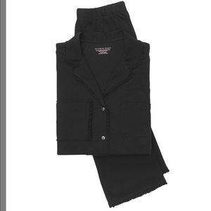 Victoria's Secret Intimates & Sleepwear - VICTORIA SECRET'S FEATHERWEIGHT RUFFLE PJ BLACK M